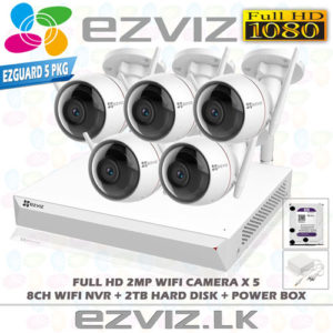 EZVIZ 1080P Full HD Wireless CCTV Camera Package 5 Outdoor CCTV Camera System With 8CH Wireless NVR Complete Package in Sri Lanka